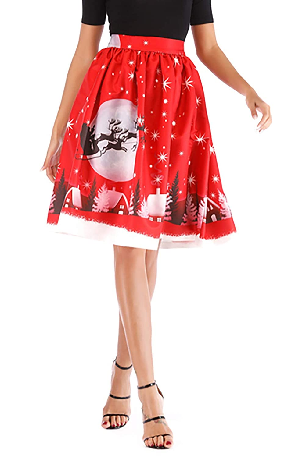 Christmas Red Hanlolo Women's Floral Midi Skirts High Waisted ALine Cocktail Party Prom Skirt