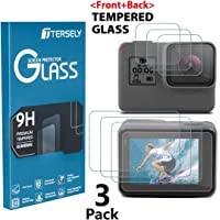 Tersely Screen Protector for GoPro Hero 7 (2018) Black /6/5, (3 Pack) Premium 9H Hardness Tempered Glass Screen Protector Front + Back Glass Lens Protector Film for Go Pro Hero7 Black Hero6 Hero5