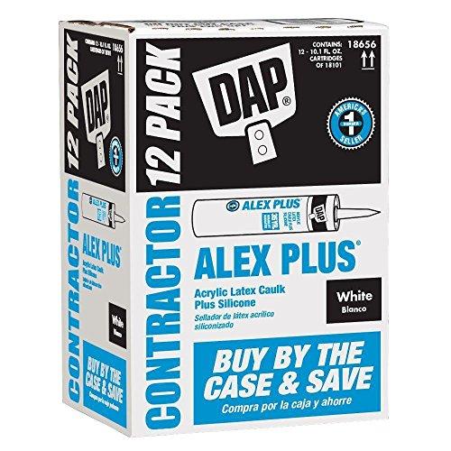 ALEX PLUS 10.1 oz. White Acrylic Latex Caulk Plus Silicone (12-Pack) - White Acrylic Latex