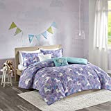 5 Piece Girls Light Purple Blue White Unicorn Dream Comforter Full Queen Set, Vibrant All Over Girly Magical Unicorns Theme Bedding, Bright Whimsical Multi Magic Creatures Themed Pattern, Cotton