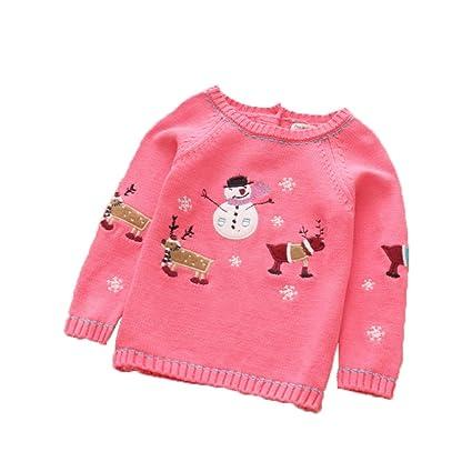 Bebé suéter de algodón para niños niña niña Navidad alce muñeco de nieve suéter cálido ropa