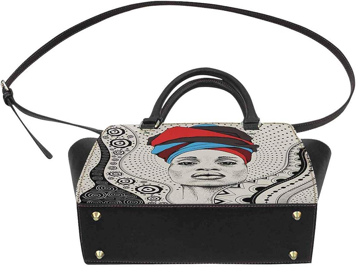 INTERESTPRINT African Woman with African in Turban Women Top Handle Satchel Handbags Tote Bag