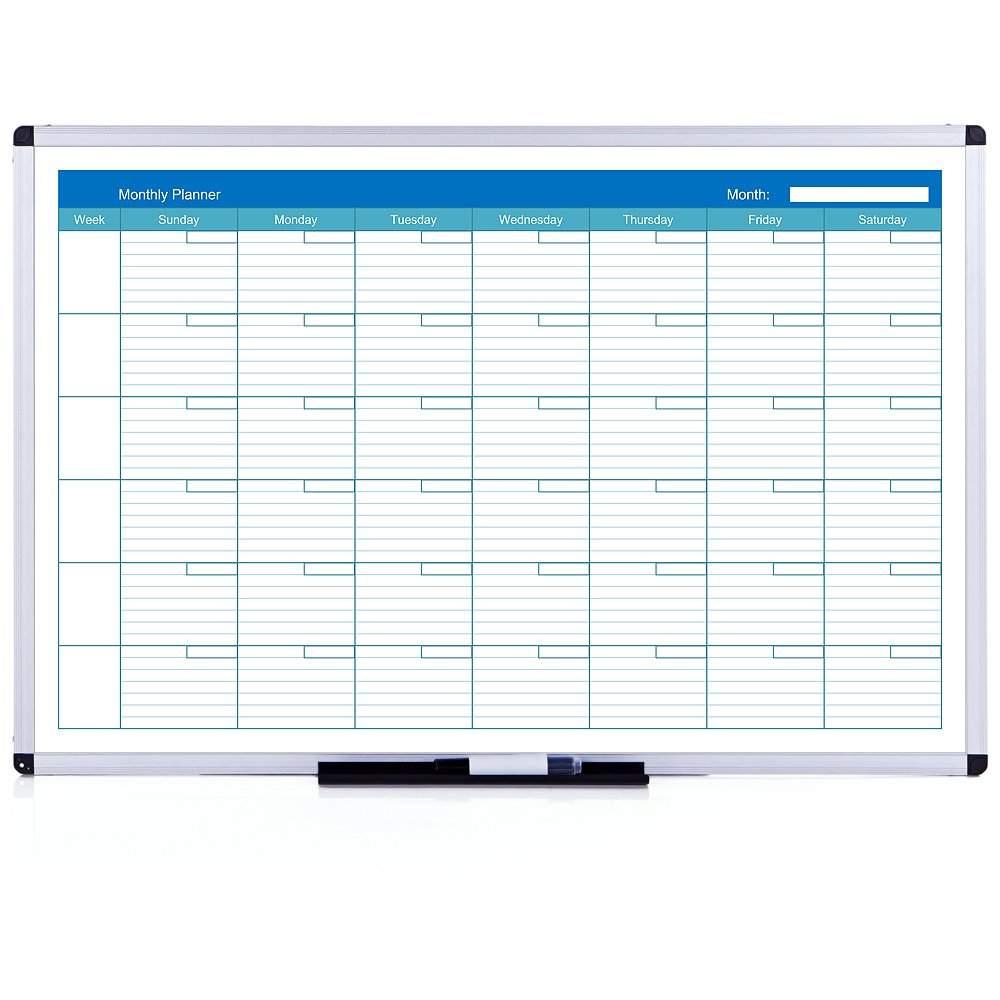 VIZ-PRO Magnetic Dry Erase Monthly Planner, 48 X 36 Inches, Silver Aluminium Frame