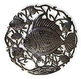 Cheap Beach Home Decor, Metal Fish Decorative Wall Art, Sea Life, Ocean, Handmade in Haiti 23″ X 23″