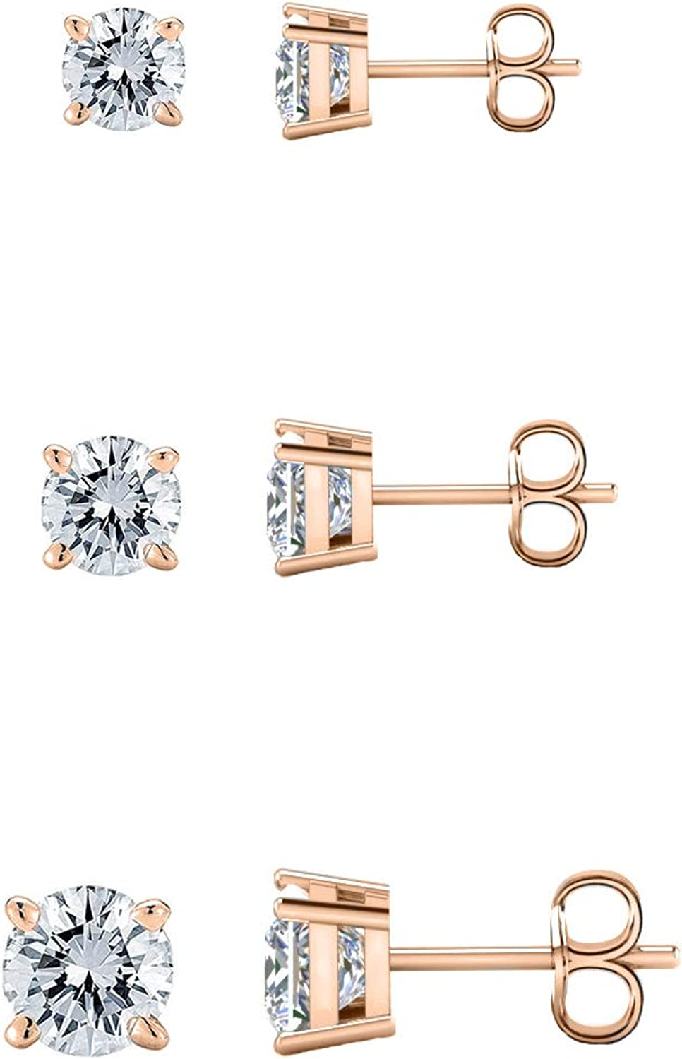 Savlano 3 Pair 14K Gold Plated Cubic Zirconia Round Cut Stud Earrings Comes In 4mm, 6mm & 8mm For Women, Girls & Men