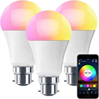 HaoDeng WiFi LED Light, 3Pack Smart Bulb -Timer& Sunrise& Sunset- Dimmable, Multicolor, Warm White (Color Changing Disco…