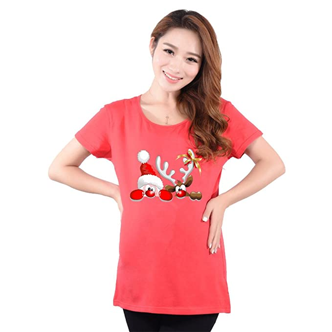Mujer Navidad Tops Gracioso Materia Camiseta El Embarazo Tee Camisa Corto Manga Pullover Jersey Top Rojo