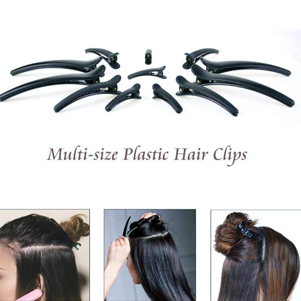 12PCS Professional Multi-Size Plastic Hair Clips Duckbill Clips Crocodile Hair Clip DIY Accessories Hair pins Alligator Clips,Non-slip Hair Barrettes for Women, Girls and Hairdresser(Black)