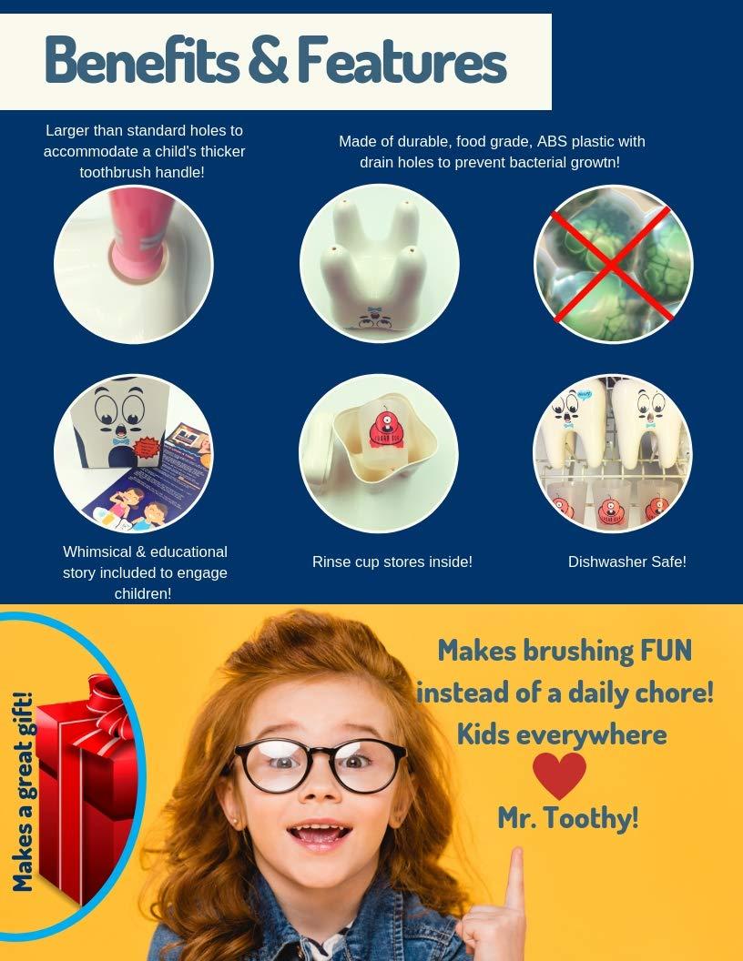 Mr. Toothy Kids - Soporte para cepillos de dientes con vaso para insectos de azúcar Juego de soporte para cepillo de dientes con forma de diente para niños.