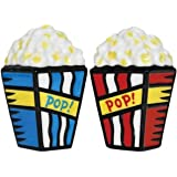 """3.25 Inch Popcorn For Two """"Pop"""" Salt and Pepper Shakers - Red and Blue"""