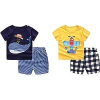 Guozyun Baby Boy's T-Shirt Short-Sleeve Short Set Cartoon Tees Pant Sets for Infant Toddlers Kids 6-48 Months 2 -Set