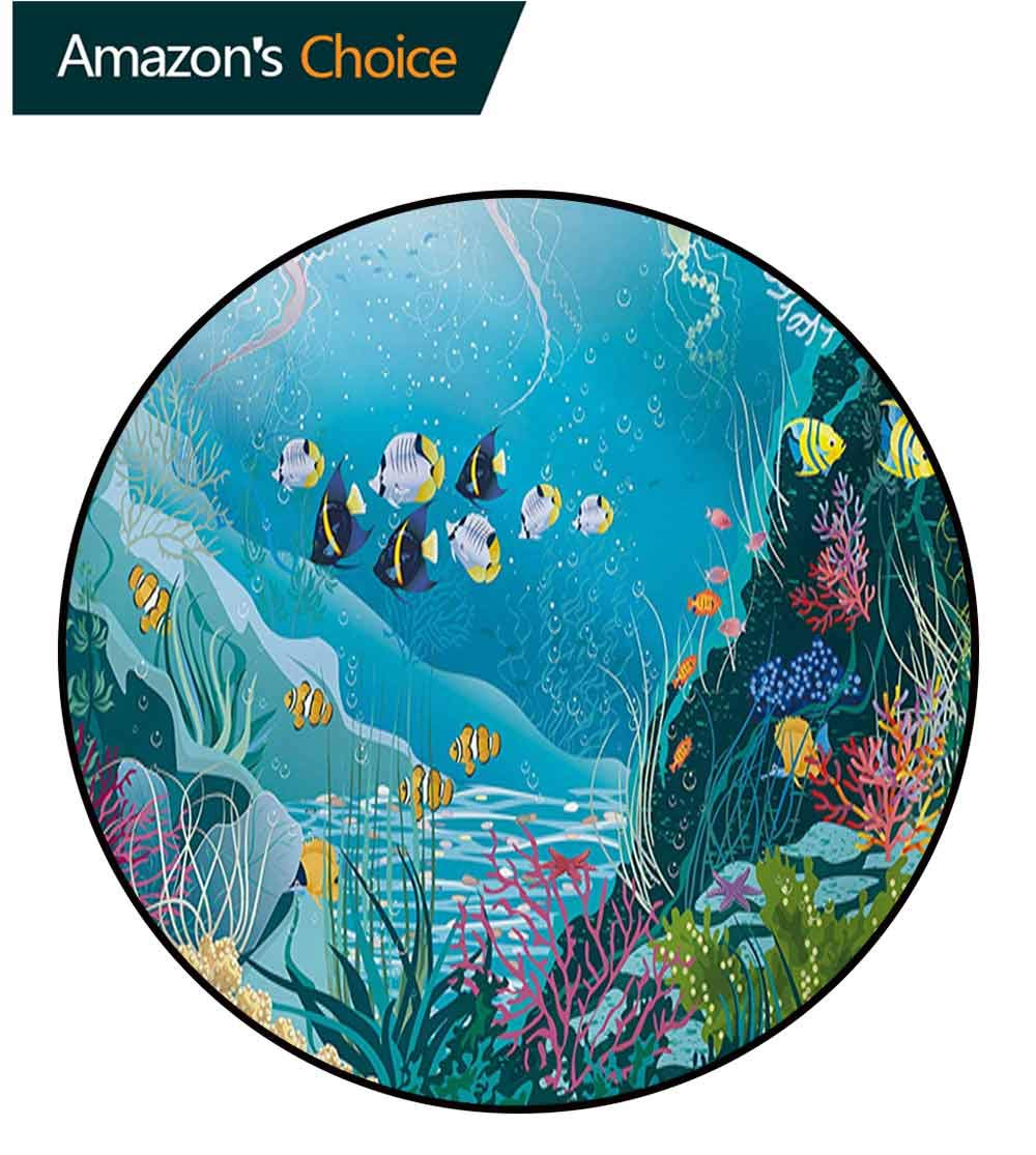 RUGSMAT Fish Machine Washable Round Bath Mat,Underwater Landscape with Tropical Fish and Algae Polyps Descriptive Nautical Image Non-Slip No-Shedding Bedroom Soft Floor Mat,Diameter-71 Inch by RUGSMAT (Image #3)
