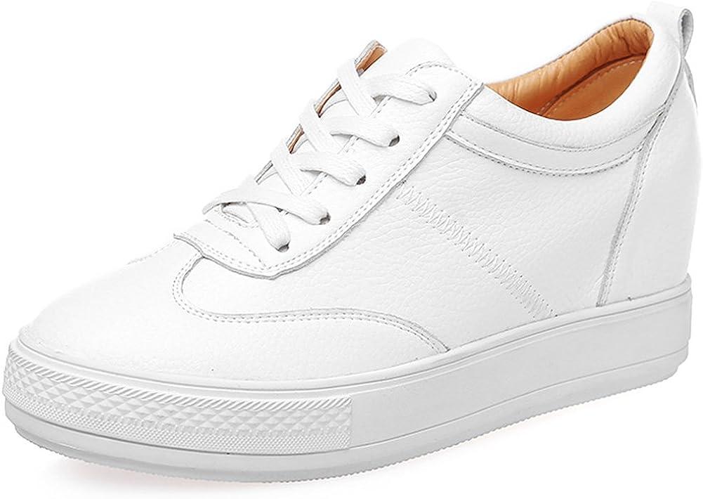 Jamron Mujer Suave Cuero de Imitación/Genuina Talón de Cuña Oculta Zapatillas Confortable con Cordones Casual Zapatos de Deporte
