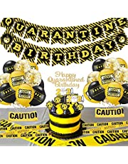 CrzPai Quarantine Birthday Party Decorations Happy Quarantine Birthday Banner Balloons Kit Social Distancing Birthday Cupcake Toppers Stay at Home Party Supplies