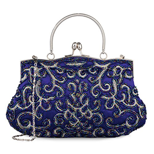 Baglamor Lady Handbag Vintage Beaded Purse Temperament Style Embroidery Bag Party Clutch (Blue)