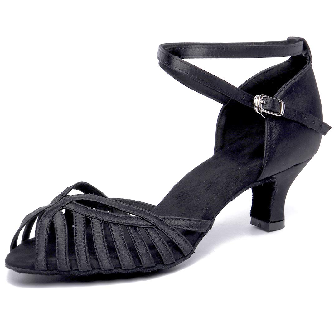 HXYOO Ballroom Dance Shoes for Women Salsa Latin 2'' Heels S02(Black-2'' Heel,6.5) by HXYOO