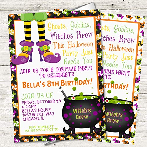 amazon com kids halloween birthday party invitations halloween