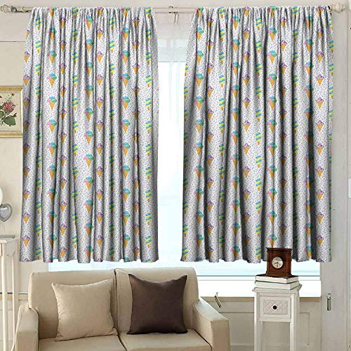 - AFGG Rod Pocket Blackout Drapes Ice Cream Summer Ice Dessert Collection with Waffle Cones and Sundae Dairy Refreshment Great for Living Rooms & Bedrooms 55 W x 72 L Inches Multicolor