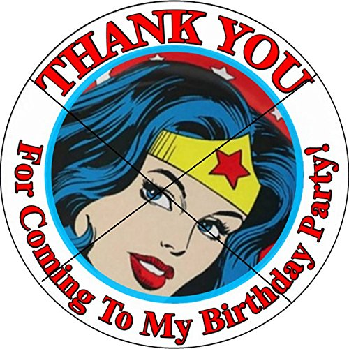 12 WONDER WOMAN - Birthday Party Favor Stickers/Labels for Gift, Goody Treat Bag (2.5 inches circle stickers, bags not included) ()