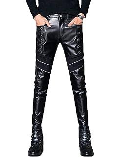 2127a360240a5 Idopy Men`s Black Party Stage Performance Slim Fit Biker Faux Leather Pants