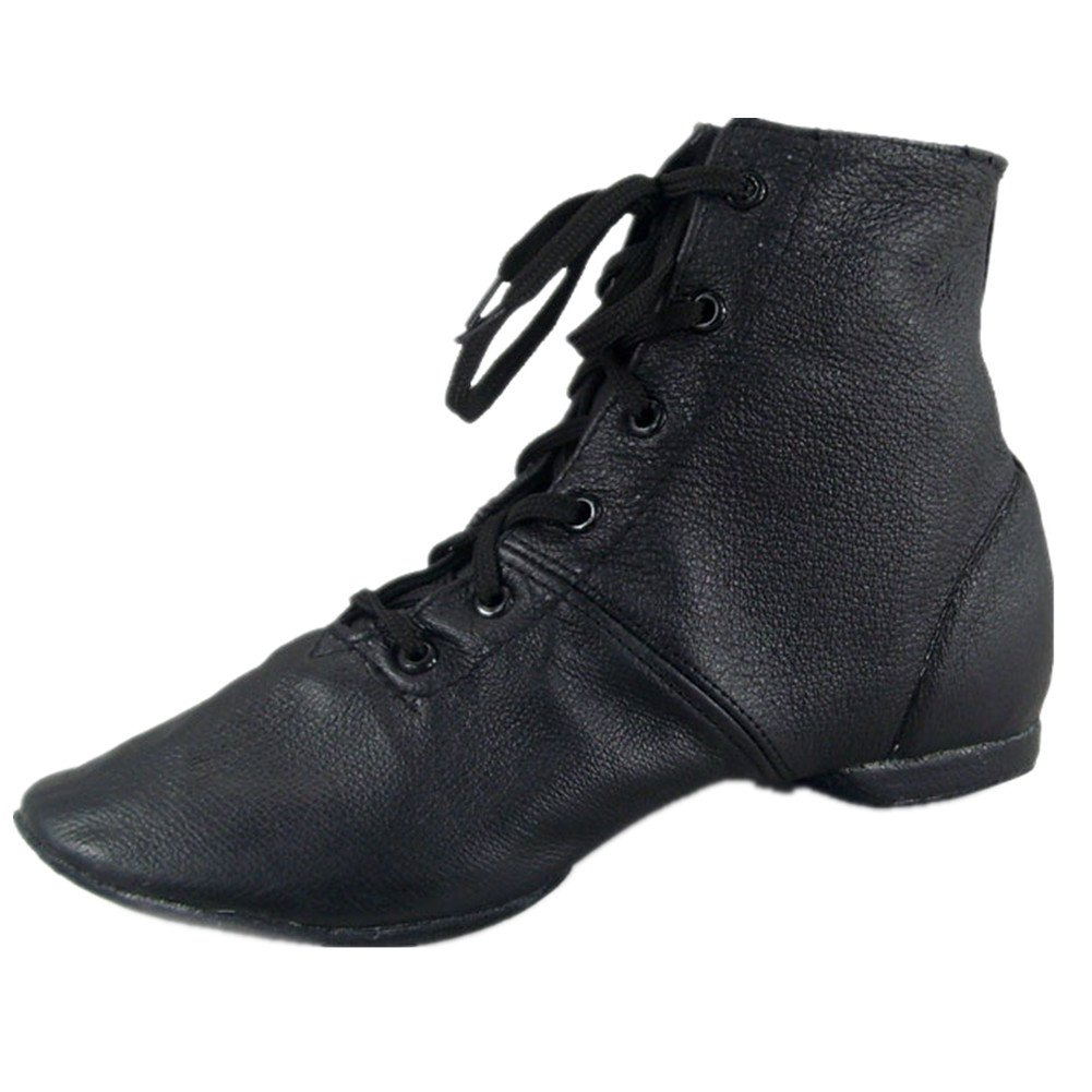 Cheapdancing Women's Leather Practice Dancing Shoes Jazz Boots Soft-Soled High Boots, Black (10.5US / 44)