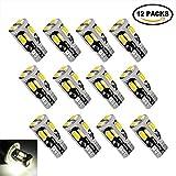 #5: 12Pcs 194 LED, T10 W5W 192 168 194 LED Bulbs, Interior Led Lights for Dome Map Door Courtesy License Plate Light-White