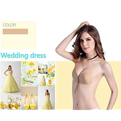 66c77ec224d23 ... AVIGOR Sticky Bra Women s Strapless Self Adhesive Silicone Bras  Reusable Backless Bras Women (Beige