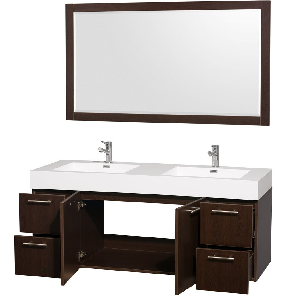 Wyndham Collection Amare 60 Inch Double Bathroom Vanity In Espresso With  Acrylic Resin Top, Integrated Sinks, And 58 Inch Mirror   Double Vanity    Amazon. ...