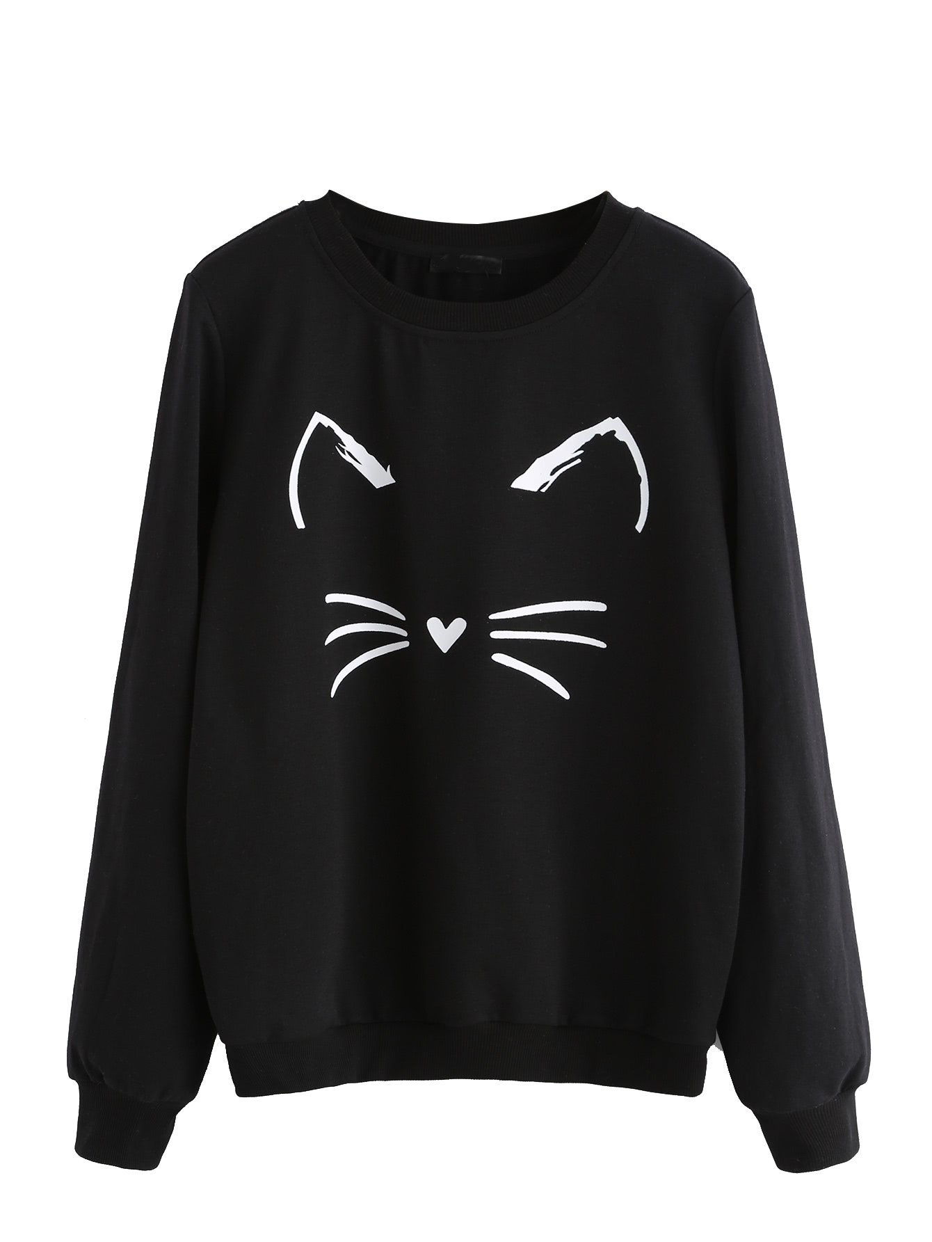 ROMWE Women's Cat Print Sweatshirt Long Sleeve Loose Pullover Shirt Black L