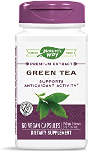 Nature's Way Premium Extract Green Tea 95% Polyphenols (75% Catechins), 250 mg per serving, 60 Capsules