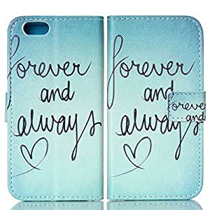Forever And Always Heart PU Leather Wallet Cover Case For 4.7 iPhone 6 6G