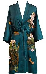 Old Shanghai Women's Kimono Robe Short - Watercolor Floral