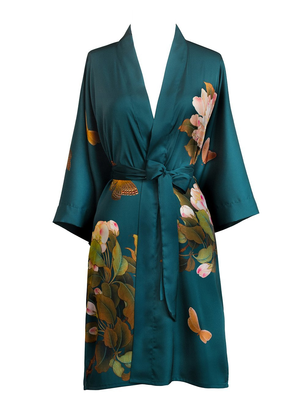 Old Shanghai Women's Kimono Robe Short - Watercolor Floral, peony & butterfly- vintage teal