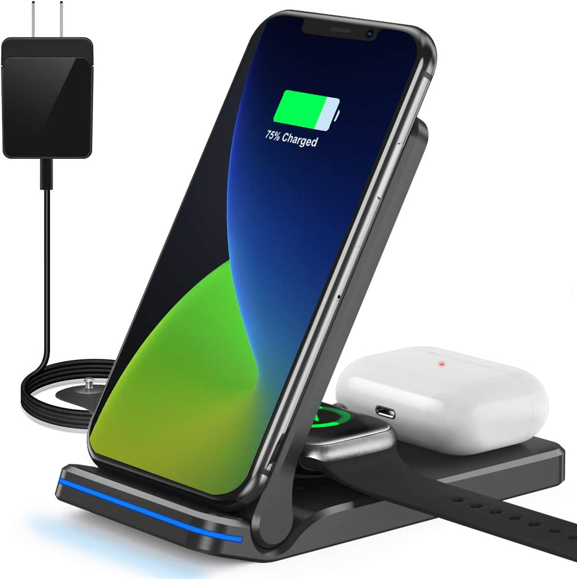 QTlier Wireless Charger, Foldable 3 in 1 Qi-Certified 15W Fast Charging Station for Air pods/Apple Watch se/6/5/4/3/2/1, Charging Stand for iPhone 12/11/11pro/X/XS/XR/Xs Max/8/8 Plus/Samsung (Black)