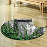 Nalahomeqq Mystic House Decor Collection Ivy on Wall with Aged Antique Empty Picture Frame as Window Creative Art Polyester Fabric Room Circle carpet Extra Green Charcoal-Diameter 150cm(59'')