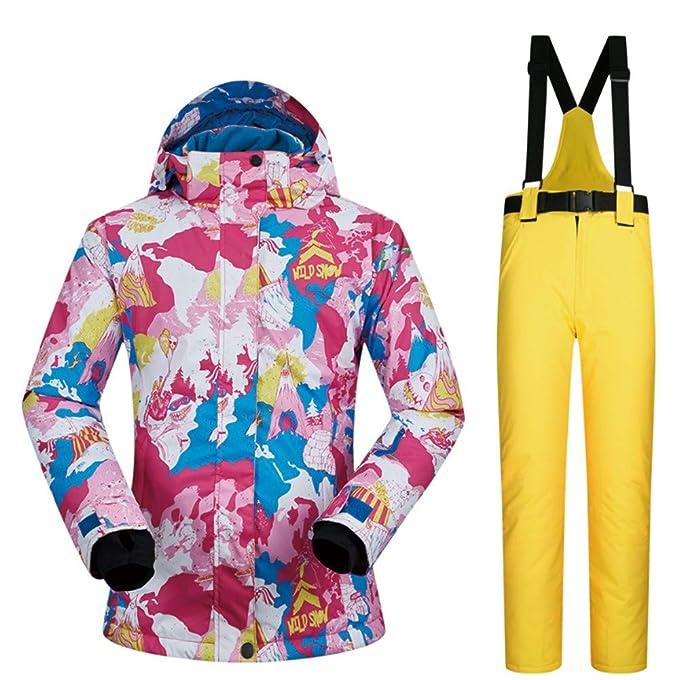 b55b5526d51 Chaqueta de esquí para Mujer a Prueba de Viento pantalón Impermeable 2 Set   Amazon.es  Ropa y accesorios