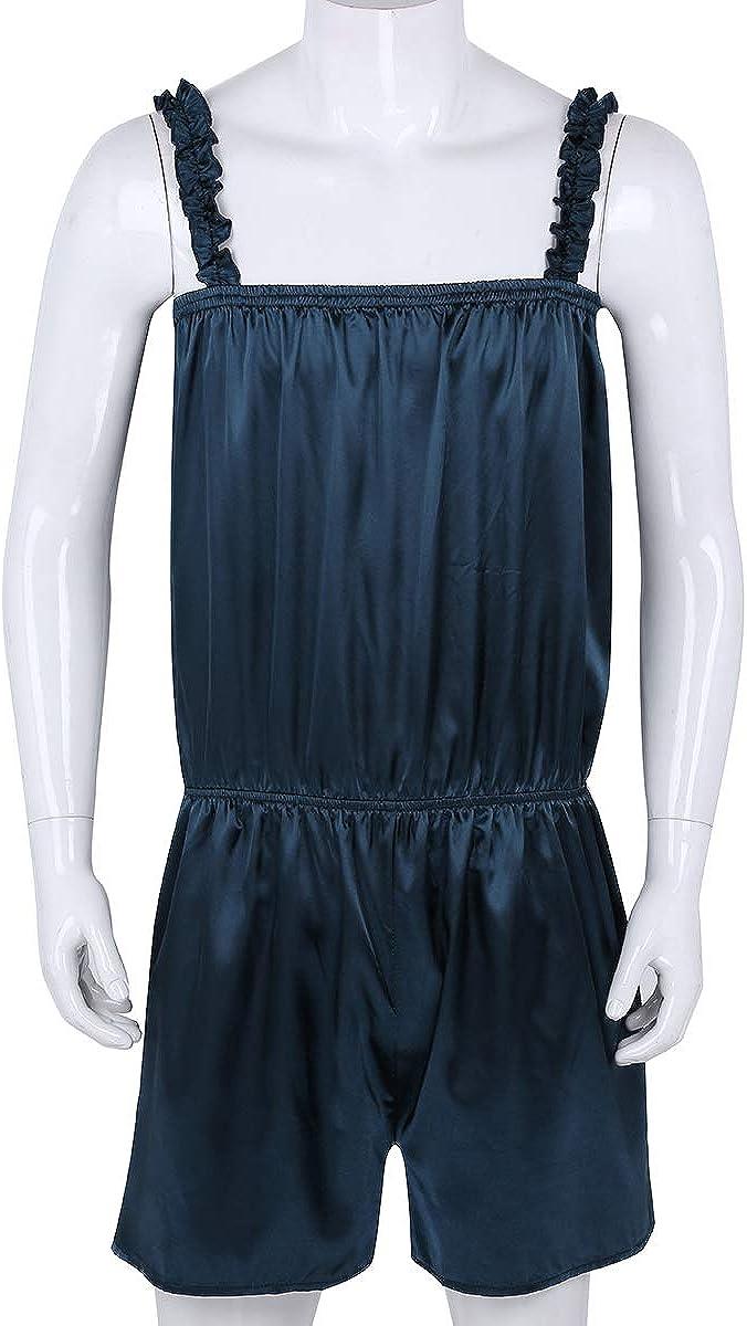 Agoky Herren Sissy Unterw/äsche Dessous Satin Overalls Kurz Einteiler Jumpsuit Pyjama Nachtw/äsche Pink Blau