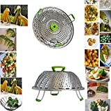 Vegetable Steamer Basket for Pot. Best Fordable Black Decker stainless steel Steaming Tool Fruit and Veggies insert fit Large-Small Steaming Container-perfect Steamed Experience (Other, large)