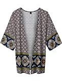 Come Together California WT1576 Womens Printed Kimono Shawl Cardigan Top - Made in USA OS Yellow_Navy