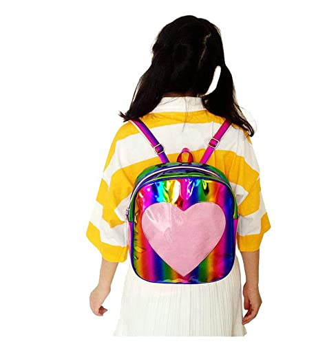 432d1ba527a LTFT Rainbow Holographic Laser Mirror Leather Backpack Transparent Heart  Beach Grils School Bag (Gold)