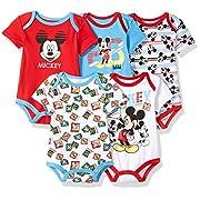 Disney Baby Boys' Mickey 5 Pack Bodysuits, Multi/Formula One Red, 0/3 M