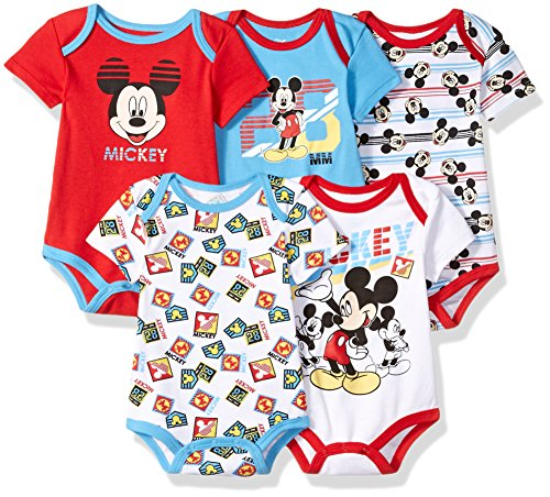Disney Baby Boys' Mickey 5 Pack Bodysuits, Multi/Formula One Red, 18M