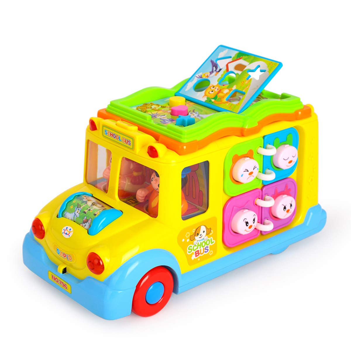 FUNFIELD Kids School Bus Toy with Flipping Page Musical for 1 2 3 Year Old Boys and Girls Kids