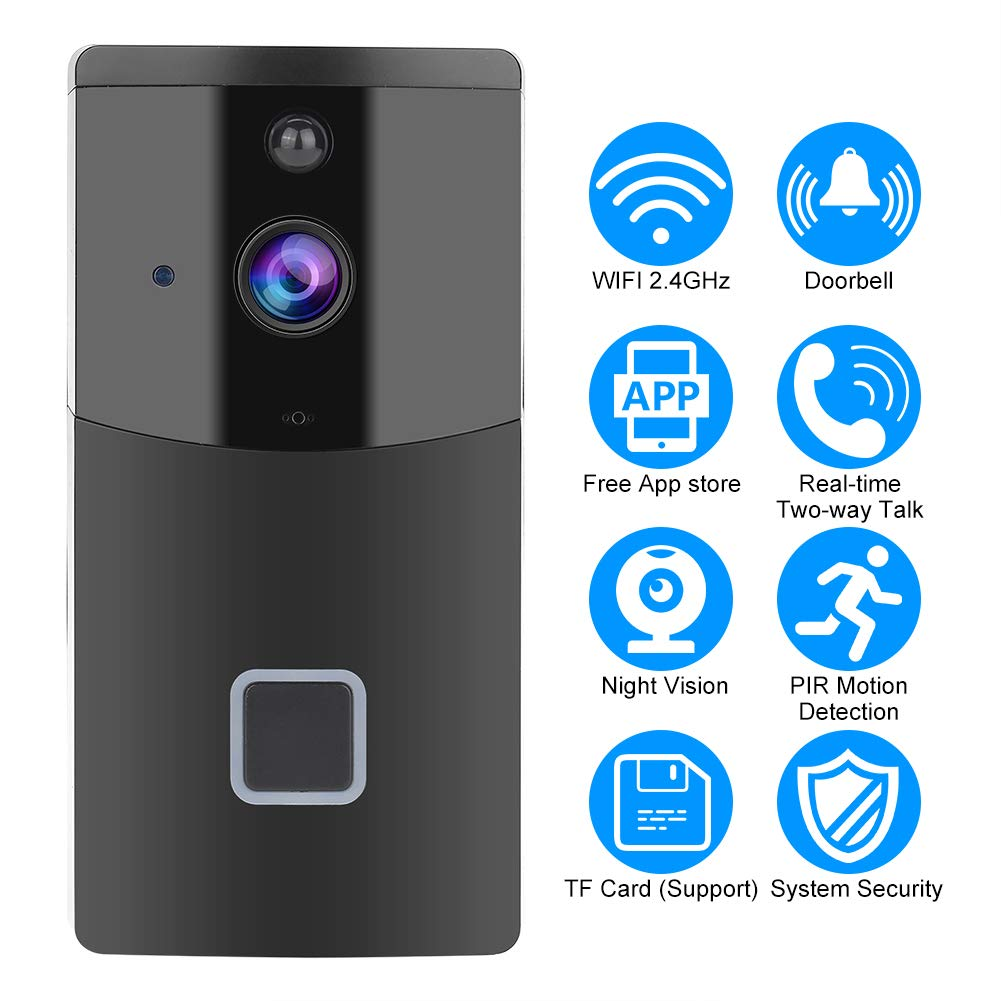 Acogedor Wireless WiFi Smart Video Doorbell,PIR 1280 720 Home Security  Camera,Two-Way Voice with Echo Cancel Function,APP Control for iOS and  Android