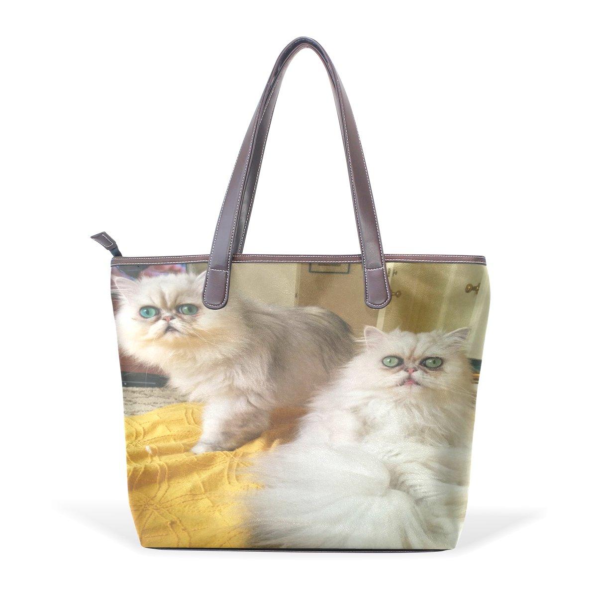Ye Store Persian Cat Lady PU Leather Handbag Tote Bag Shoulder Bag Shopping Bag