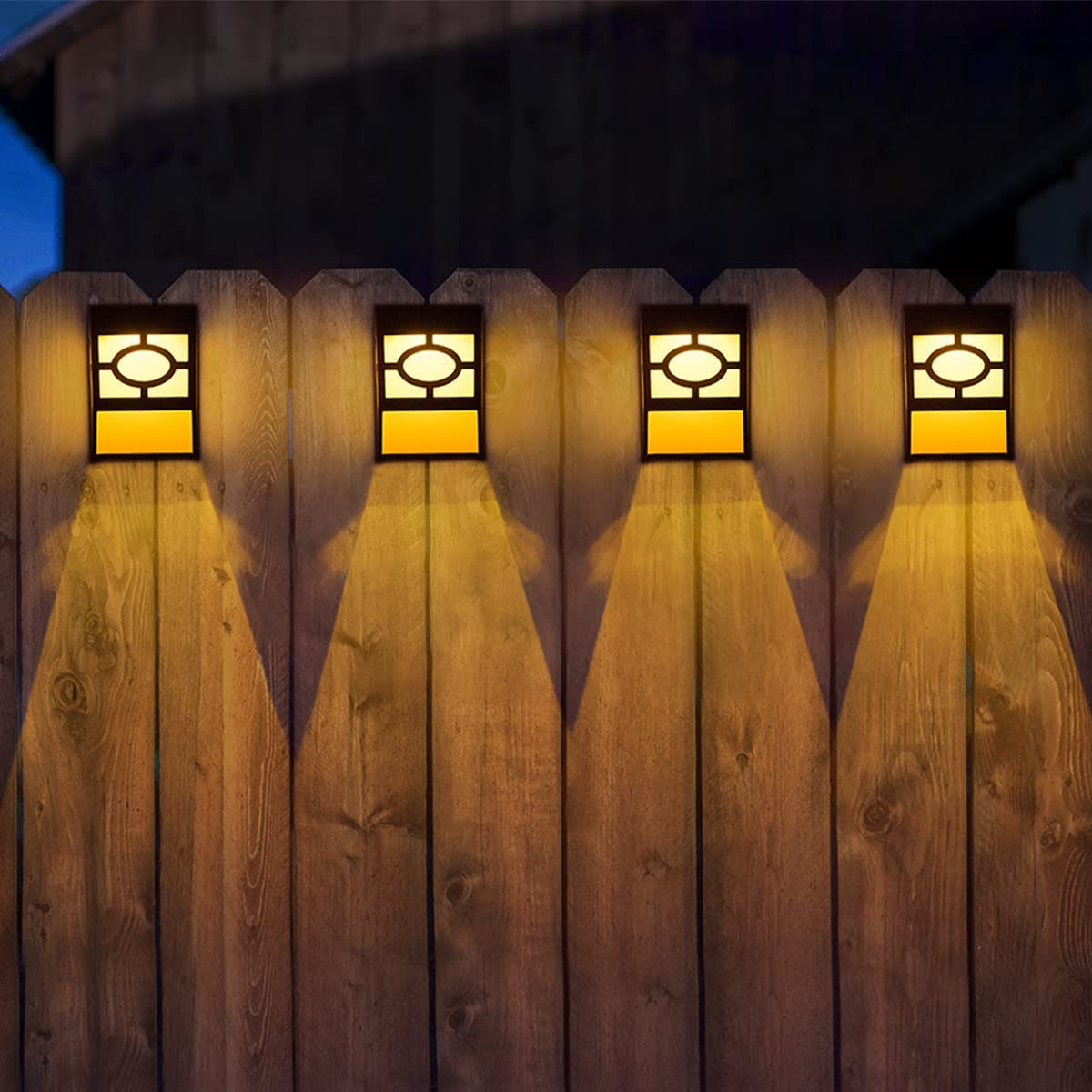 Solar Deck Lights, 6 Packs Outdoor Wall Lights Garden Decorative Fence Post Lighting - -