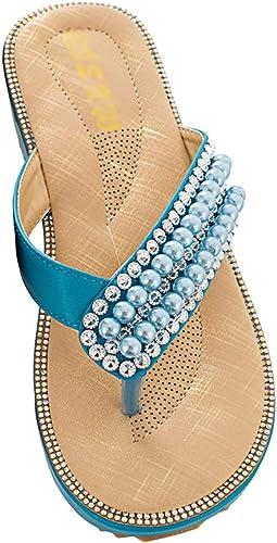 Tianbin Zehentrenner Damen Rutschfest Böhmen Sandalen T Strap Lässig Flip Flops Flache Mit Glitzer Perlen Schuhe Handtaschen