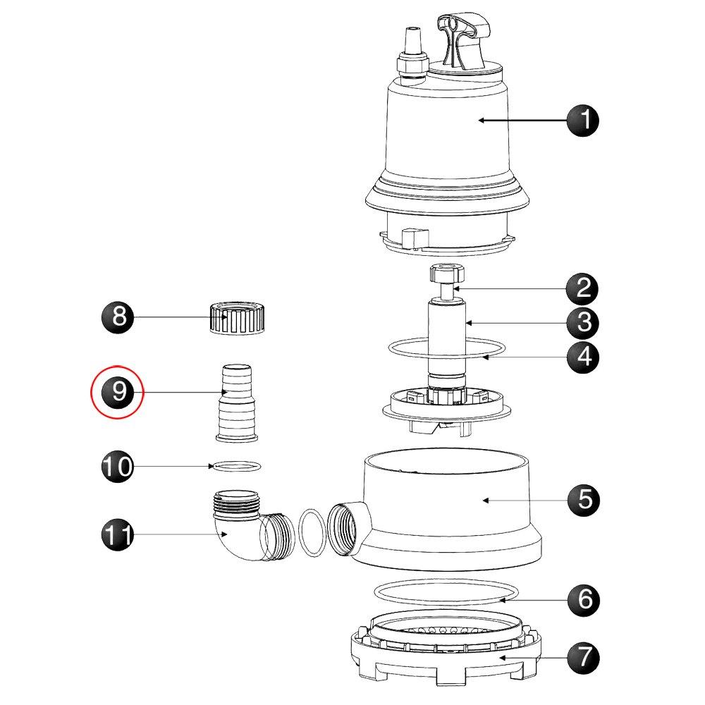 SunSun CLP-9000 Max-Eco Tauchpumpe Ersatzteil Stufenausgang Gartenpumpe Pumpe