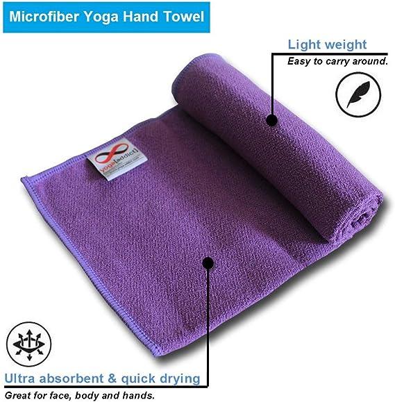 26 x 73 Free Carry Bag - Non-Slip Super Sweat Absorbent Hot Yoga Mat Cover for Gym Bikram Pilates Corner Pockets No Bunching KINGXBAR Ultra Soft Microfiber Yoga Mat Towel Quick Dry