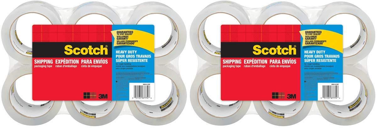 Scotch hgf 3850-6 Heavy Duty Shipping Packaging Tape, 3'' Core, 1.88'' x 54.6 Yards 12 Rolls